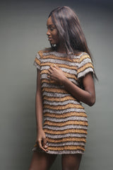 Gold and Tan Fringe Mini Dress