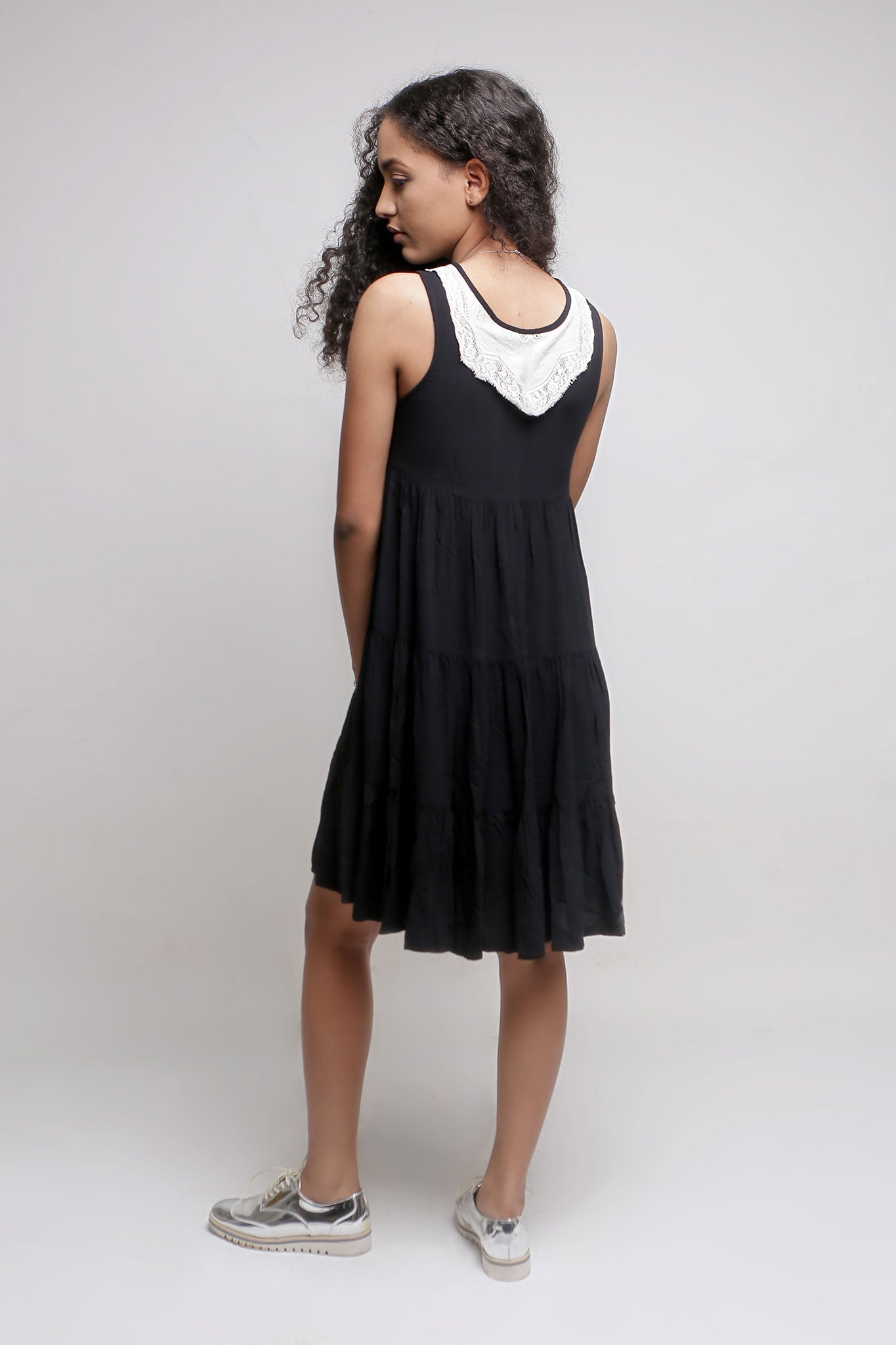 Black Knee Length Gypsy Dress with Lace Neckline