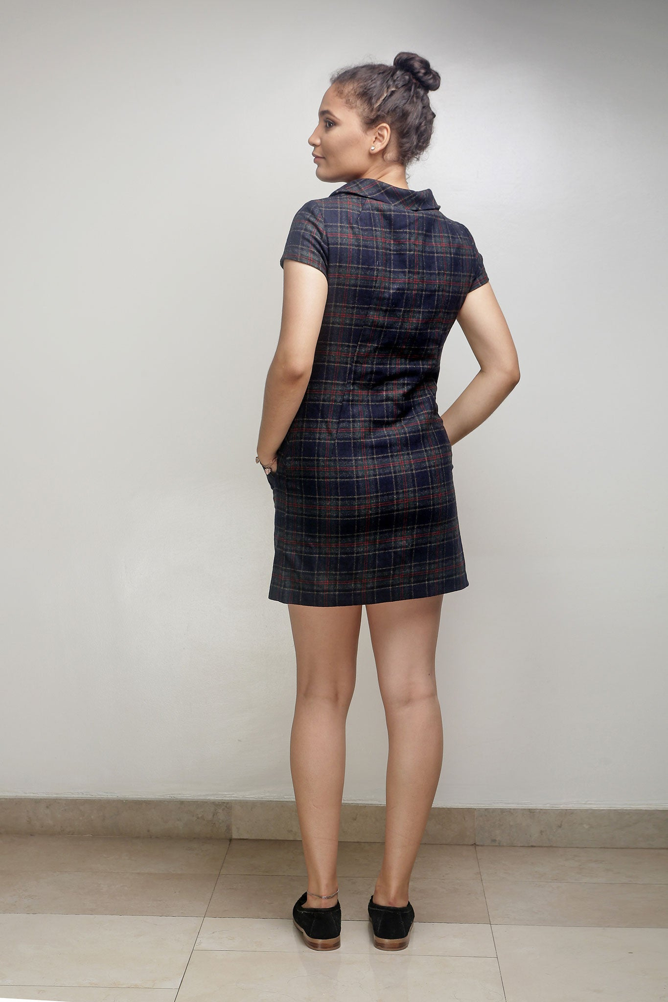 Dark Plaid Short Dress