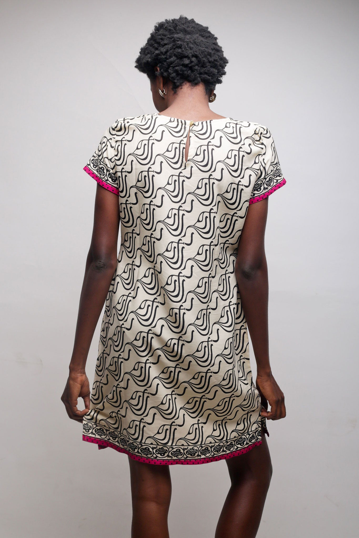 Cream Shift Dress with Black Pattern