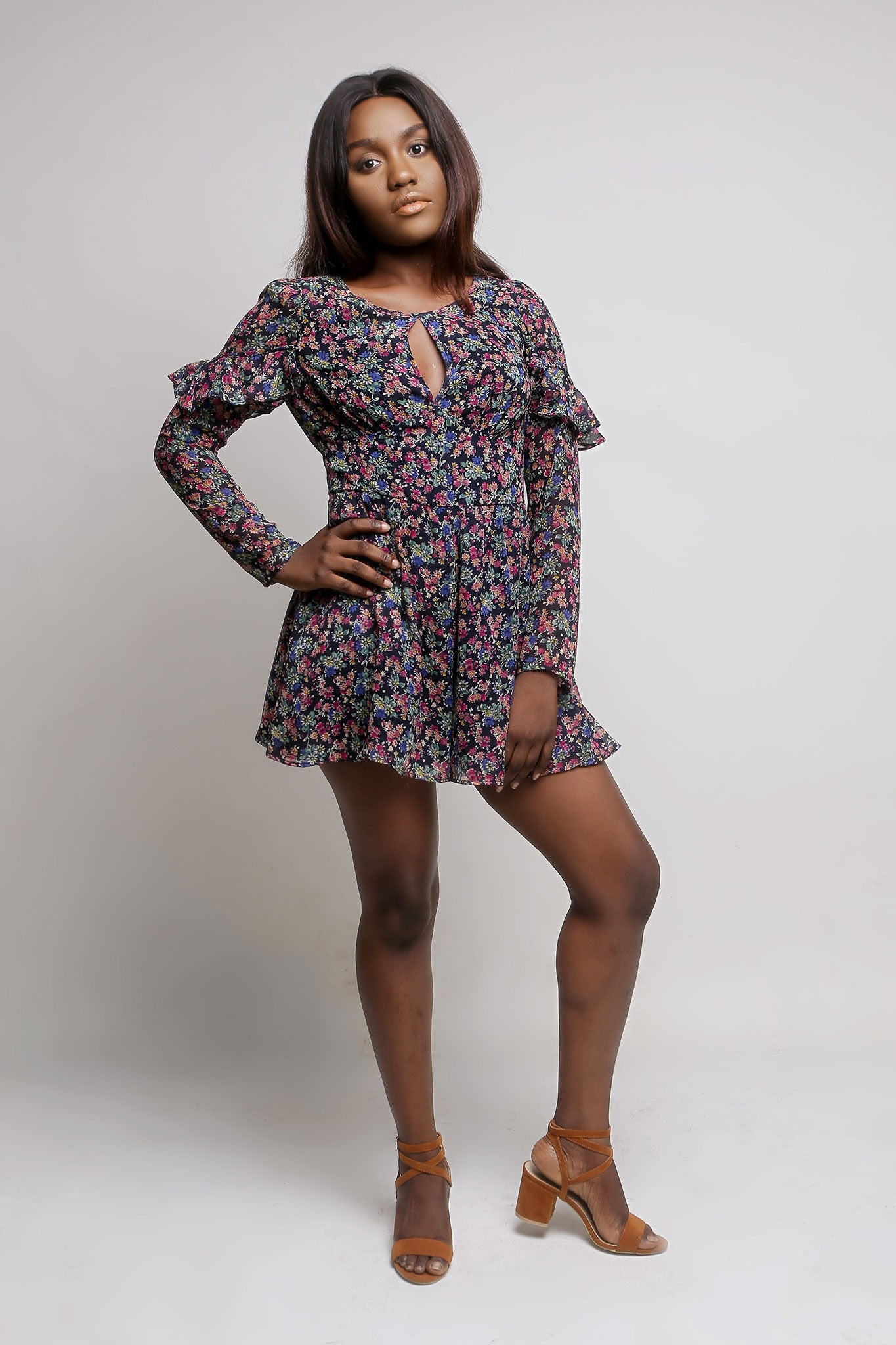 Long Sleeve Floral Chiffon Playsuit