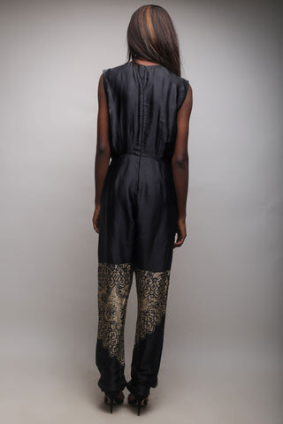 Black and Gold Print Jumpsuit