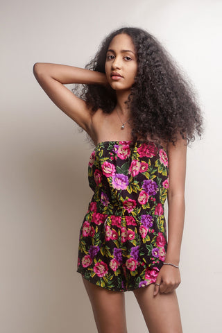 Floral Print Short Play Suit