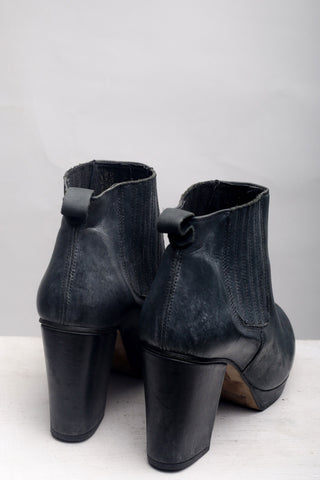 Black Leather High Heeled Boots