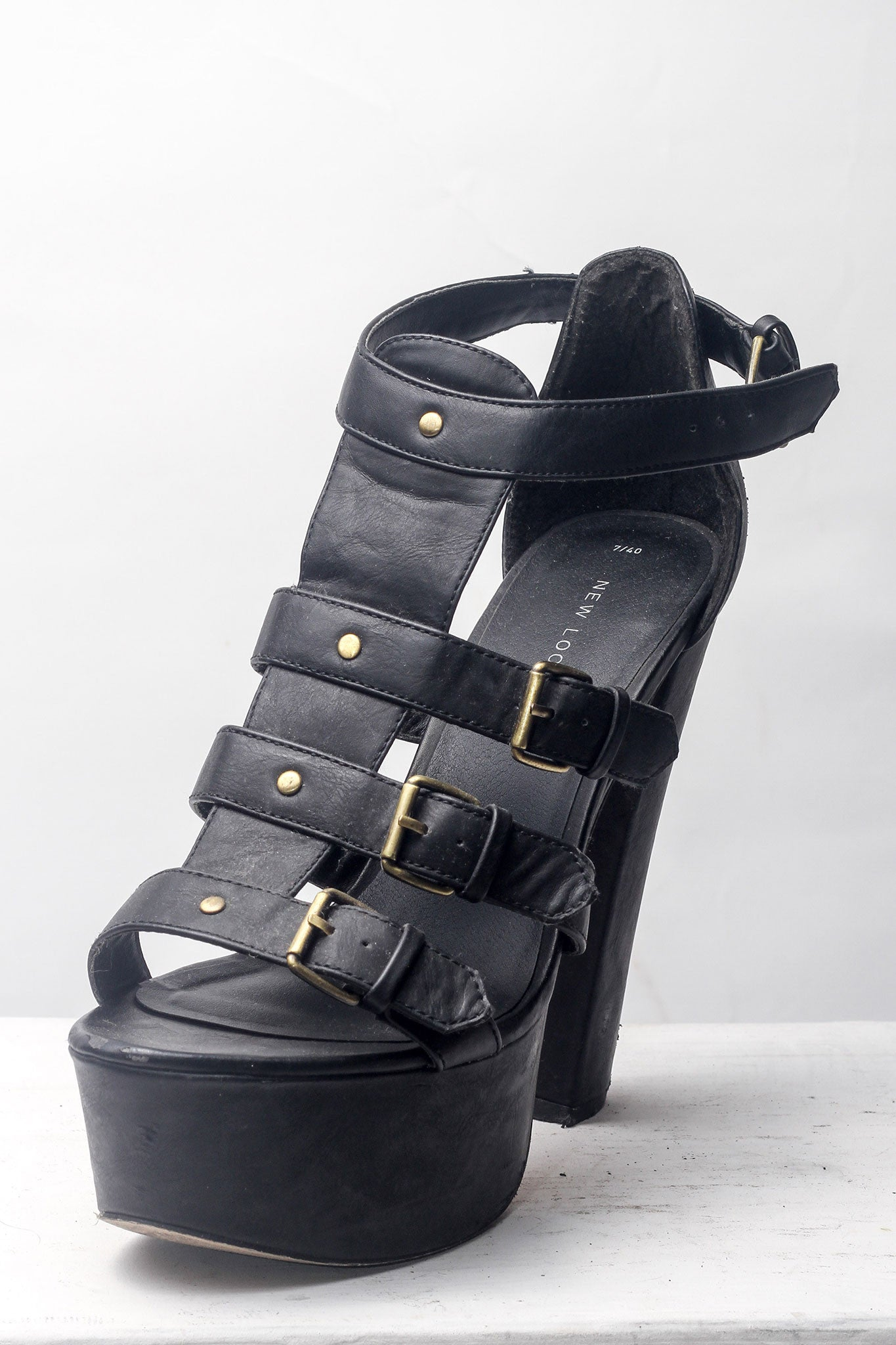 Black Strappy Chunky Heel Sandals