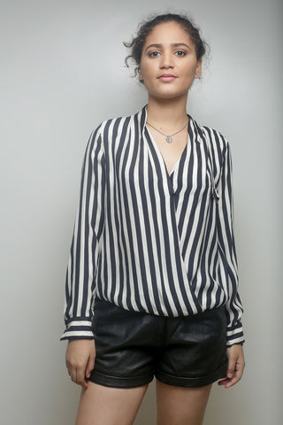 Striped Collarless Shirt