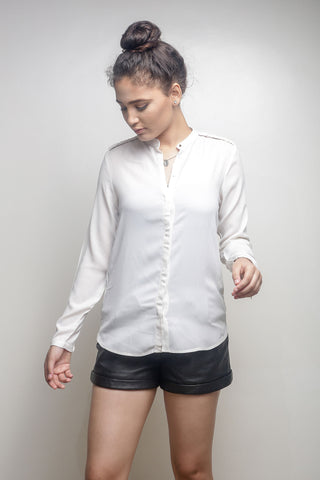 Cream Collarless Shirt