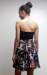 Black Floral Print Short Skirt