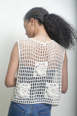 Cream Crotchet Shrug without Sleeves