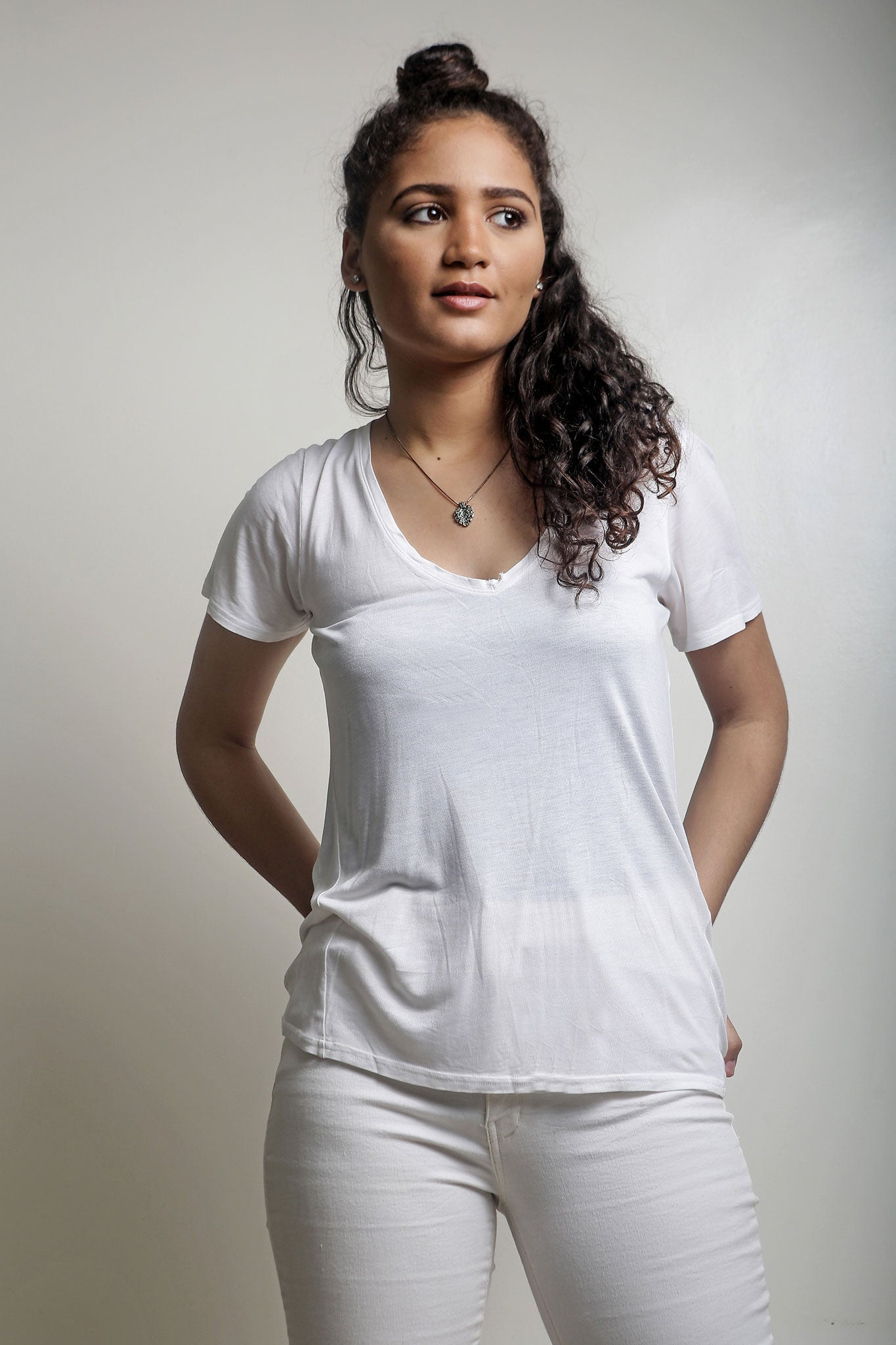 White V-Neck Tshirt