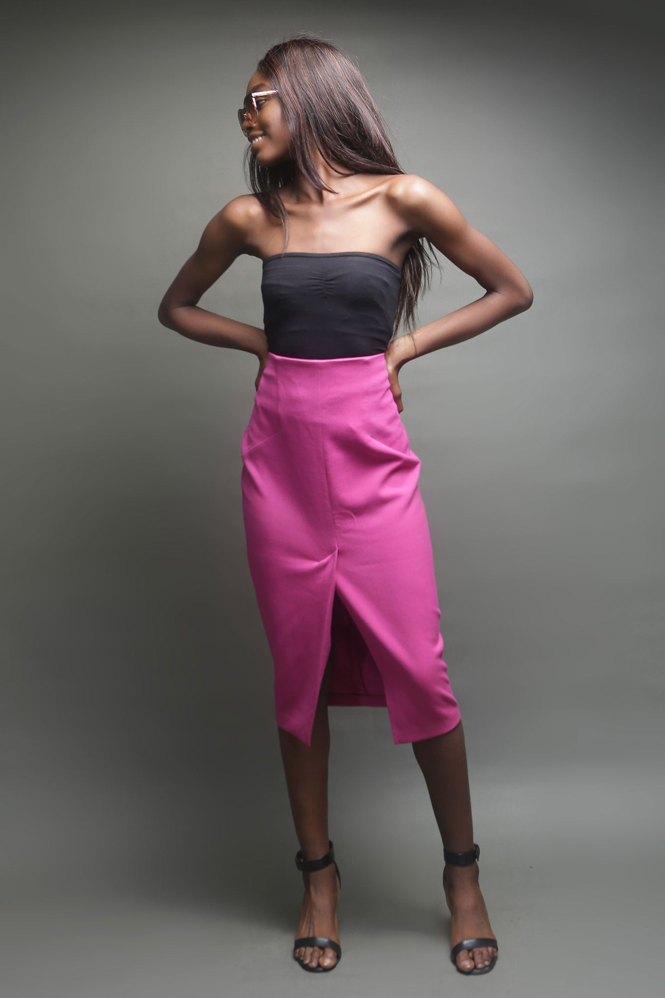 Hot Pink Knee Length Skirt with Slit In Front