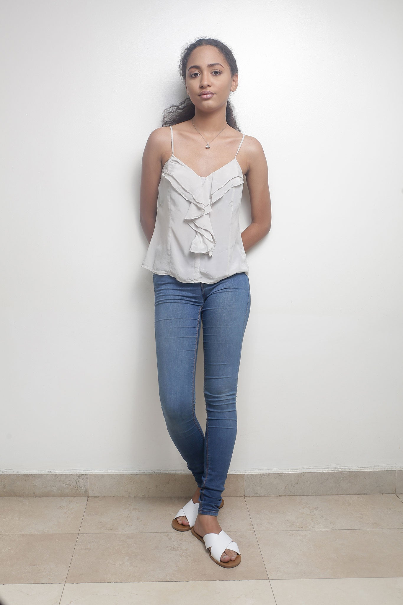 Grey Cami Top with Frill Detail