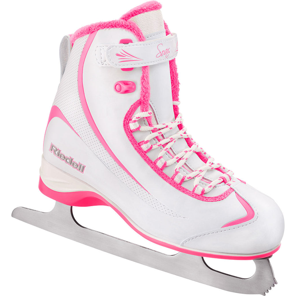 Riedell 615 Soar Girls Soft Series Recreational Figure Skates (White/Pink)