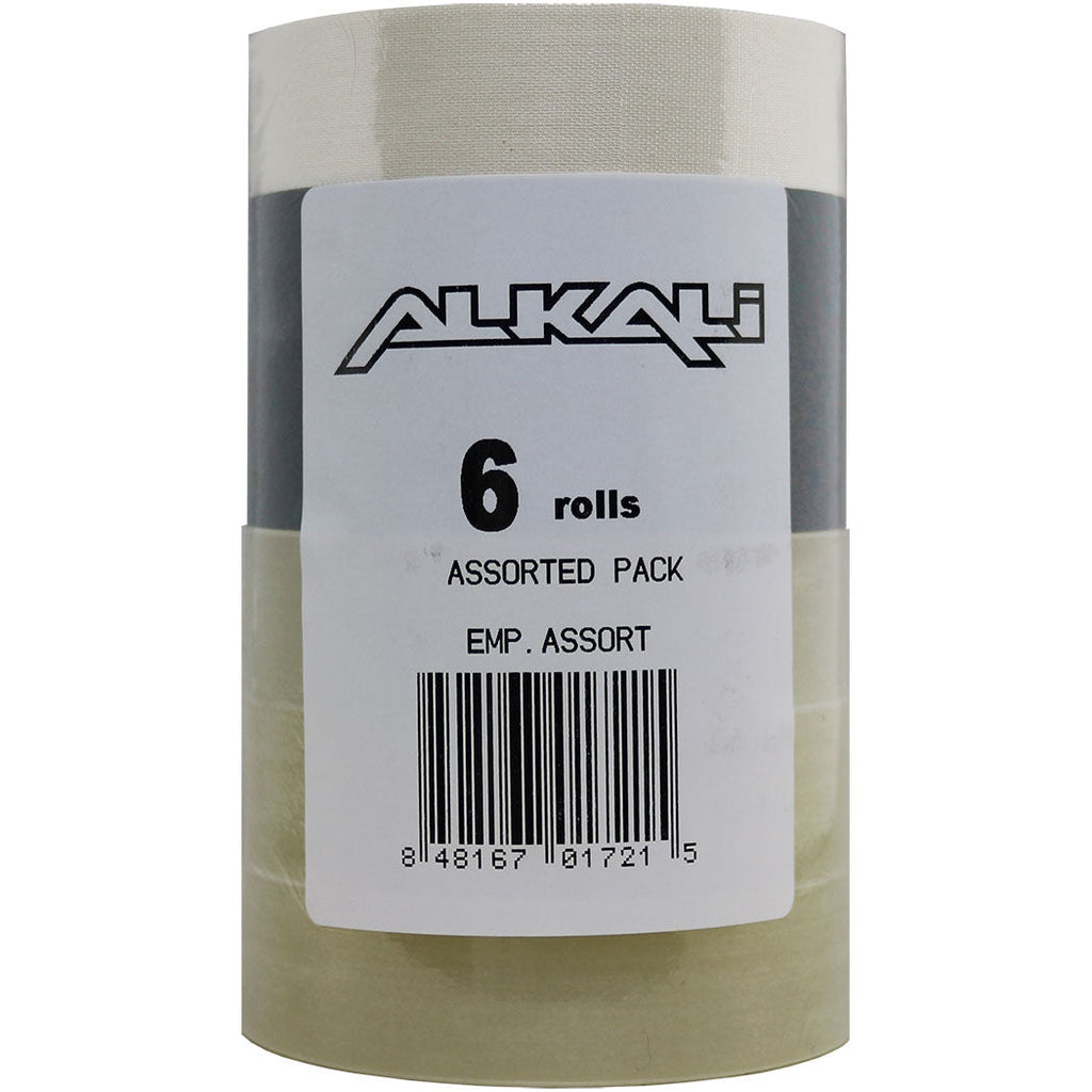 Alkali Hockey Tape 6-Pack - 3 Clear/2 Black/1 White