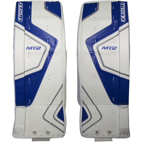 TronX MT2 Senior Hockey Goalie Leg Pads (White/Blue)