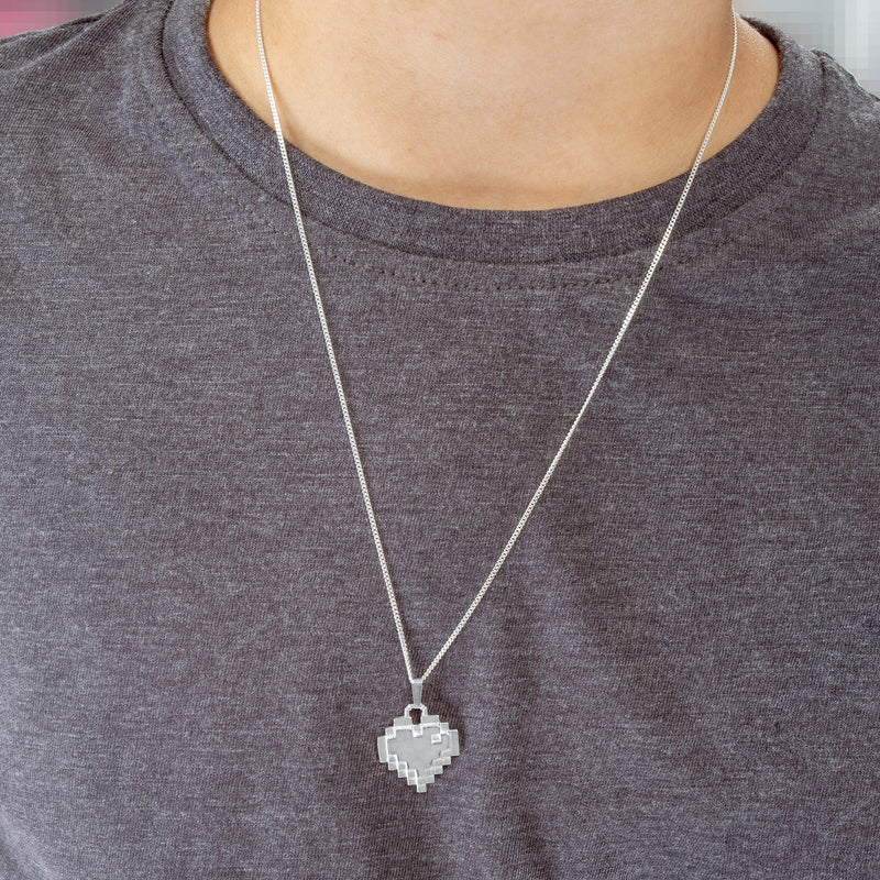 Sterling silver pixel heart necklace