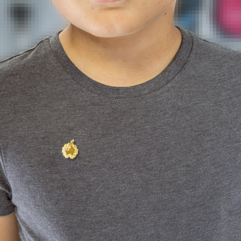gold plated apple pixel pin