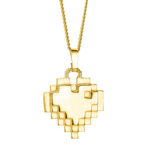 Gold plated pixel heart pendant