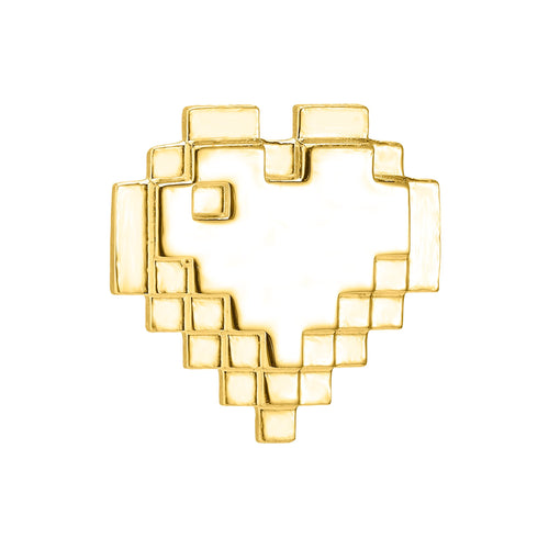 Gold plated pixel heart pin