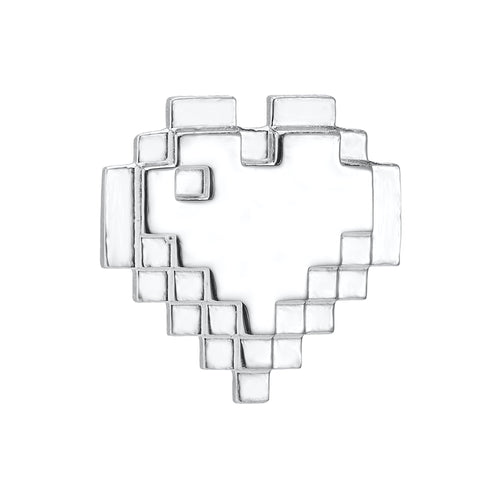 Sterling silver pixel heart pin