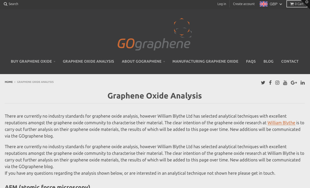 New Graphene Oxide Analysis Page