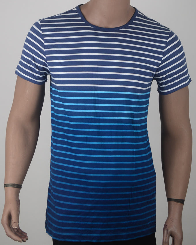 Blue Striped Faded  T-shirt - Large