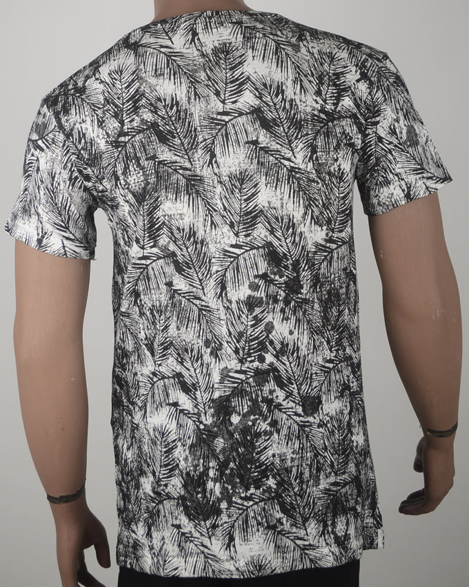 Grey Leaf Print T-shirt - Large