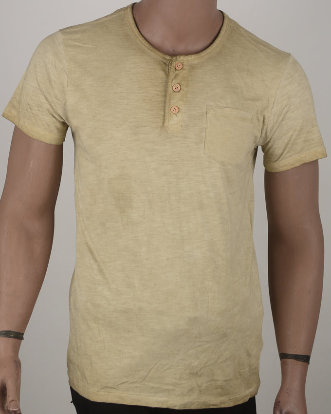 Brown Buttoned T-shirt - Medium