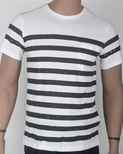 Stripe White T-shirt  - Small