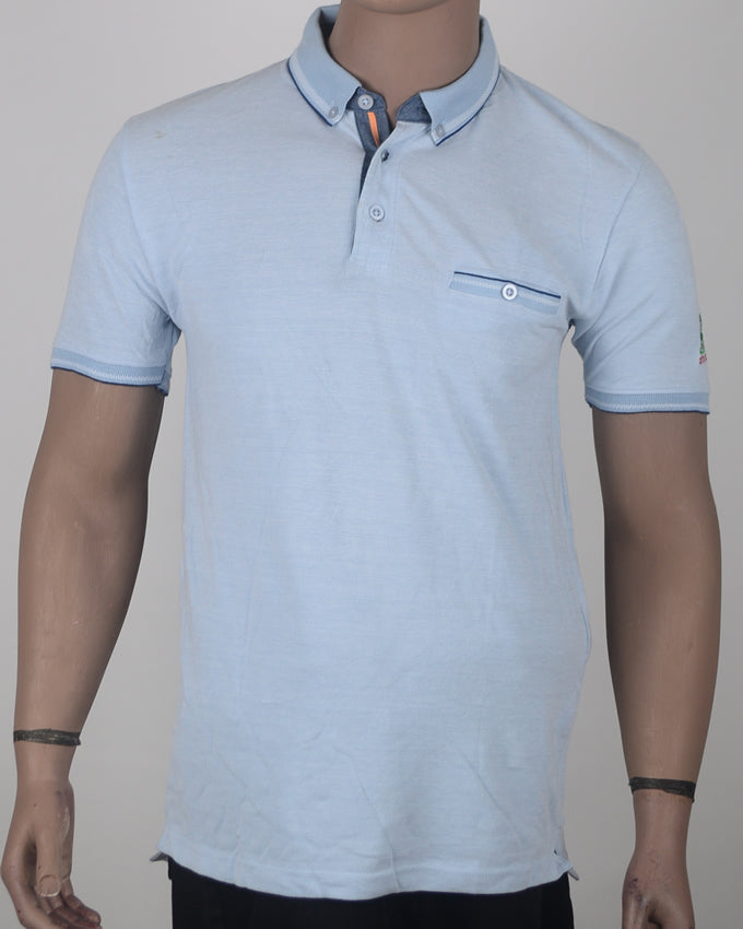 Blue Polo with Pocket  - XL