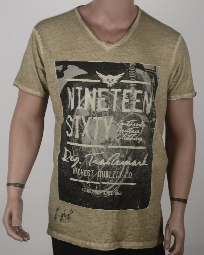 Nineteex Sixty Print V Neck Brown - XL