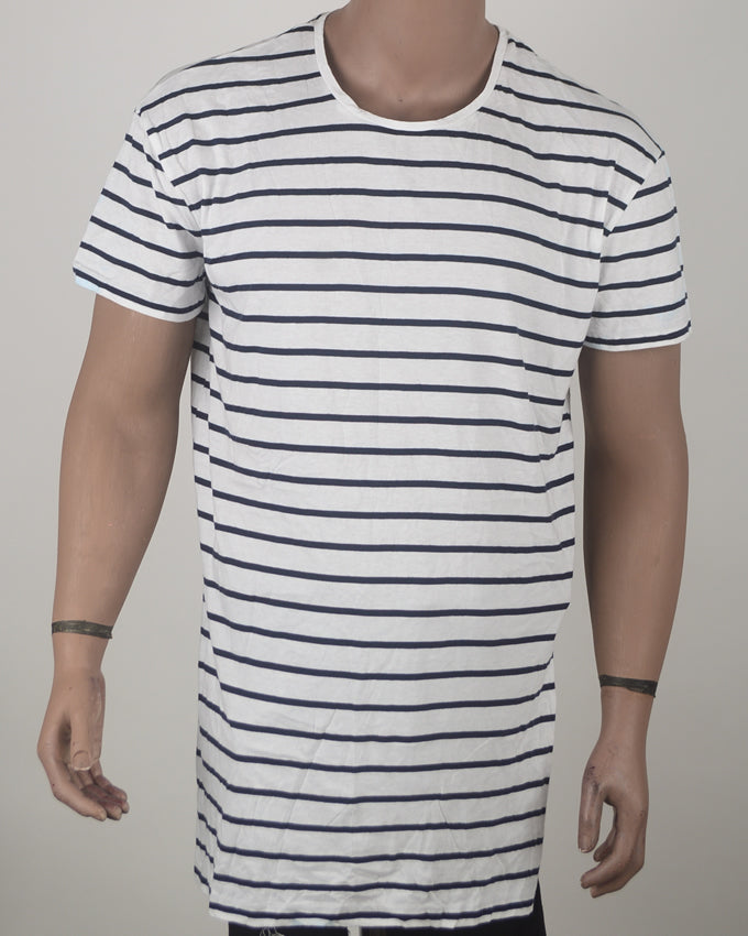 Longline Striped Shirt with Side Slit - XL