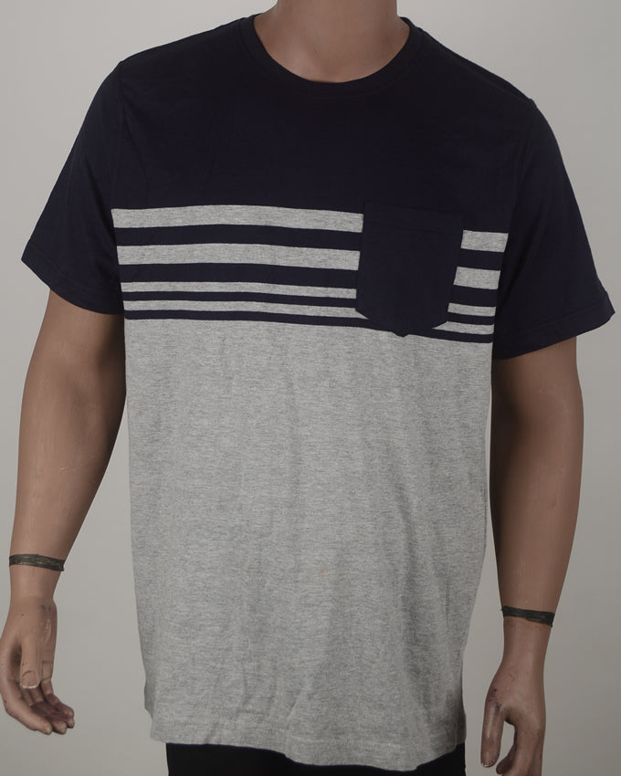 Blue and Grey Stripes T-shirt - XXL