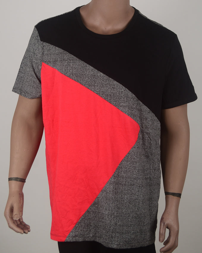 Black Grey and Red T-shirt - XXL