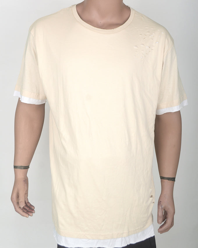 Ripped Cream Double  T-shirt - XXL