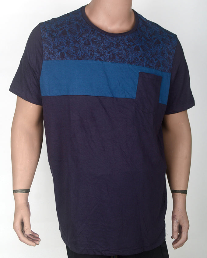 Shades of Blue with Pocket T-shirt - XXL