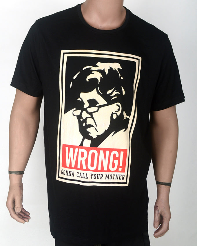 Wrong Print Black T-shirt - XXL