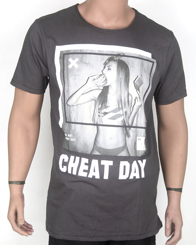 Cheat Day Grey Print T-shirt - XL