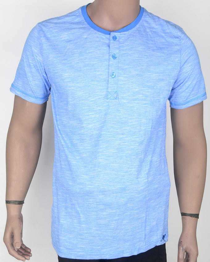 Light Blue Buttoned T-shirt - XL