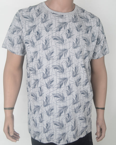 Light Grey T-shirt with Leaf Pattern -XL