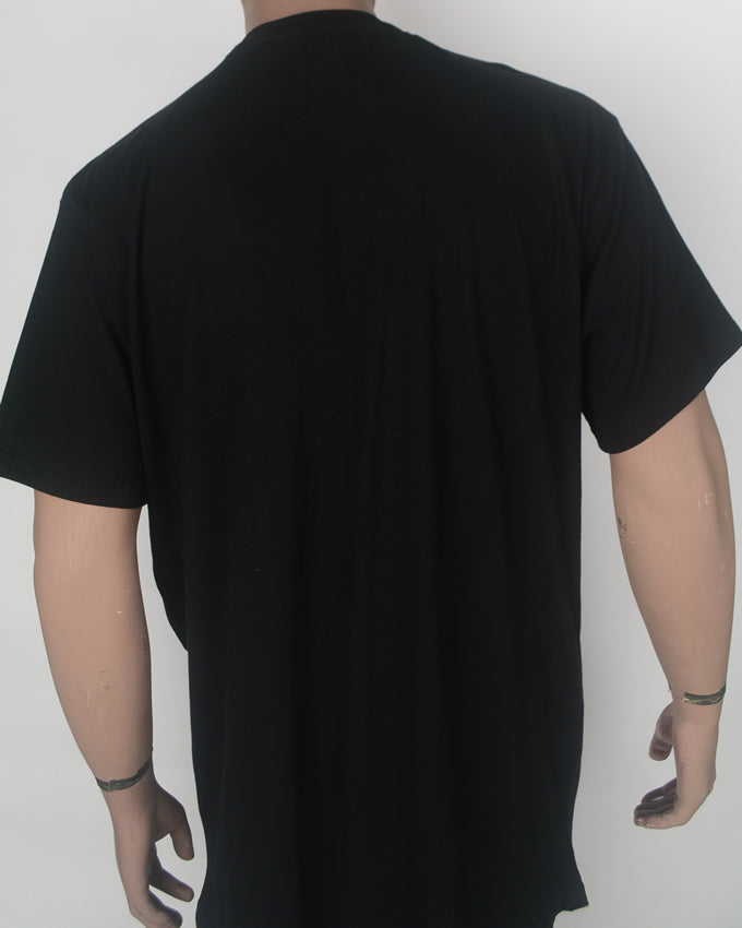 Plain Black BIG and Long Tshirt - XXL