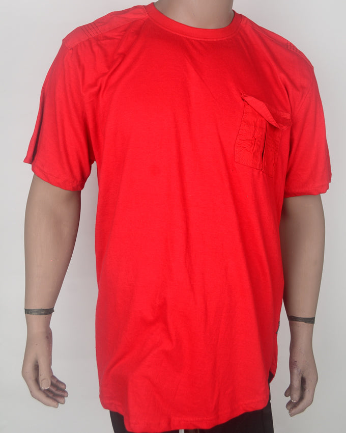 Plain Red With Pocket T-shirt - XXL