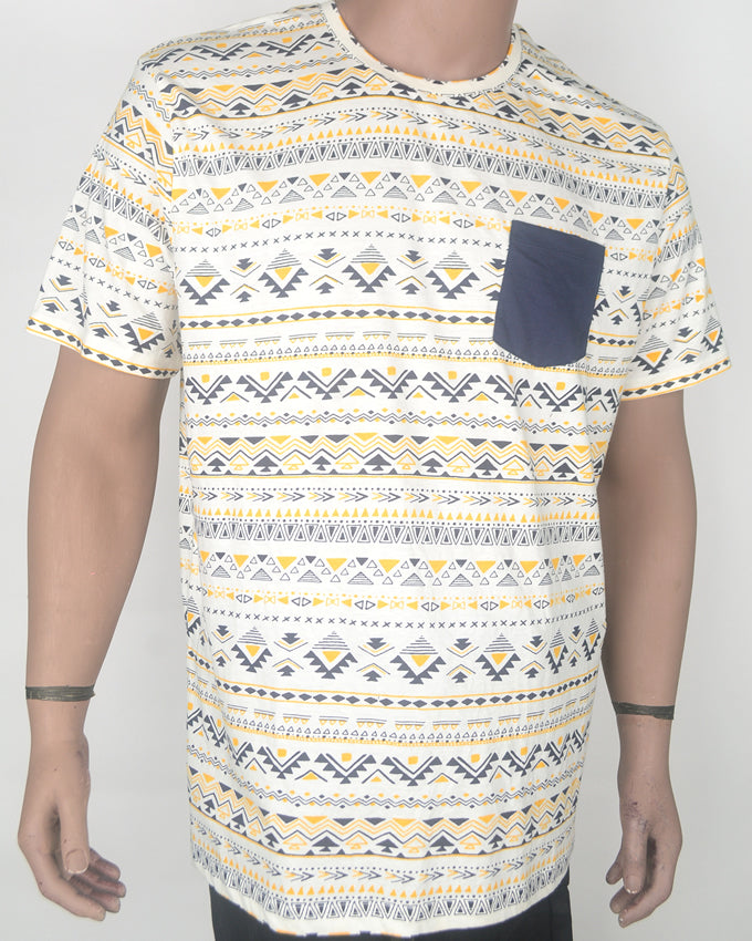 Yellow Aztec with Blue Pocket - XXL