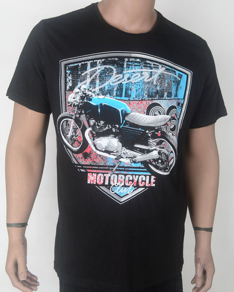 Desert Mortorcycle Print Black T-shirt - XL