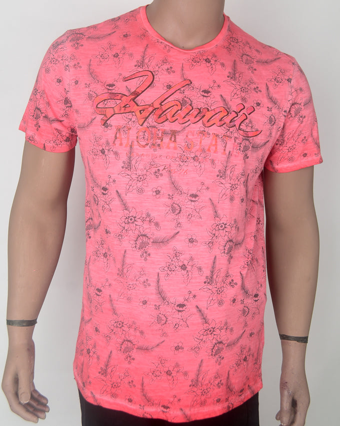 Hawaii Print Pink T-shirt - XL