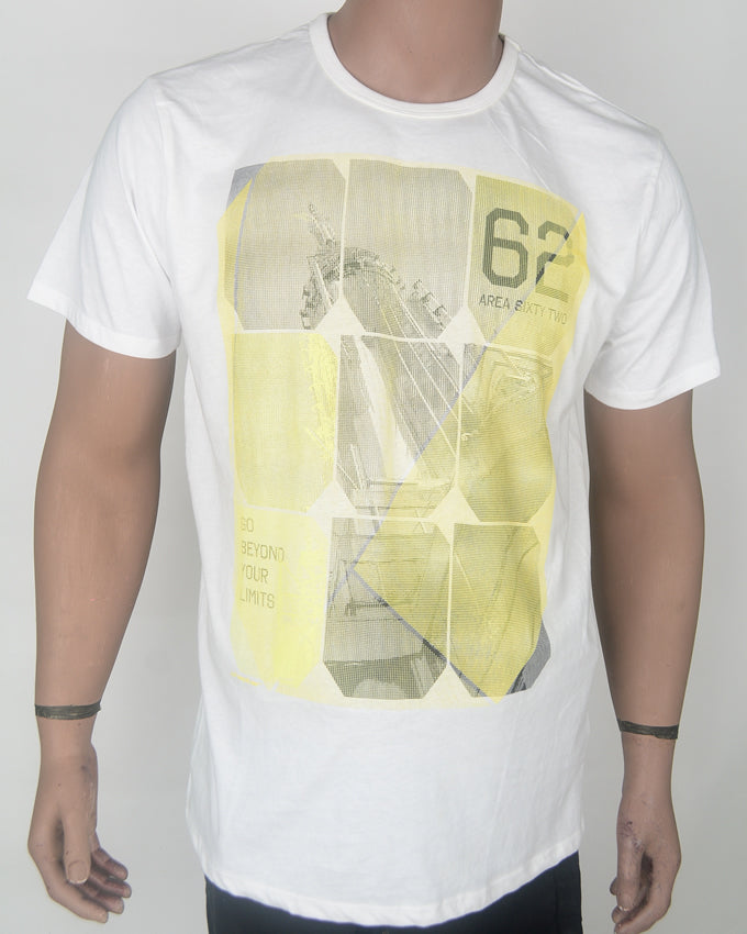 Yellow Boxes 62 Print White T-shirt - XL