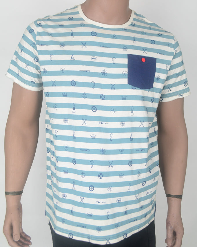 Boating Blue Stripes Blue Pocket T-shirt - XL