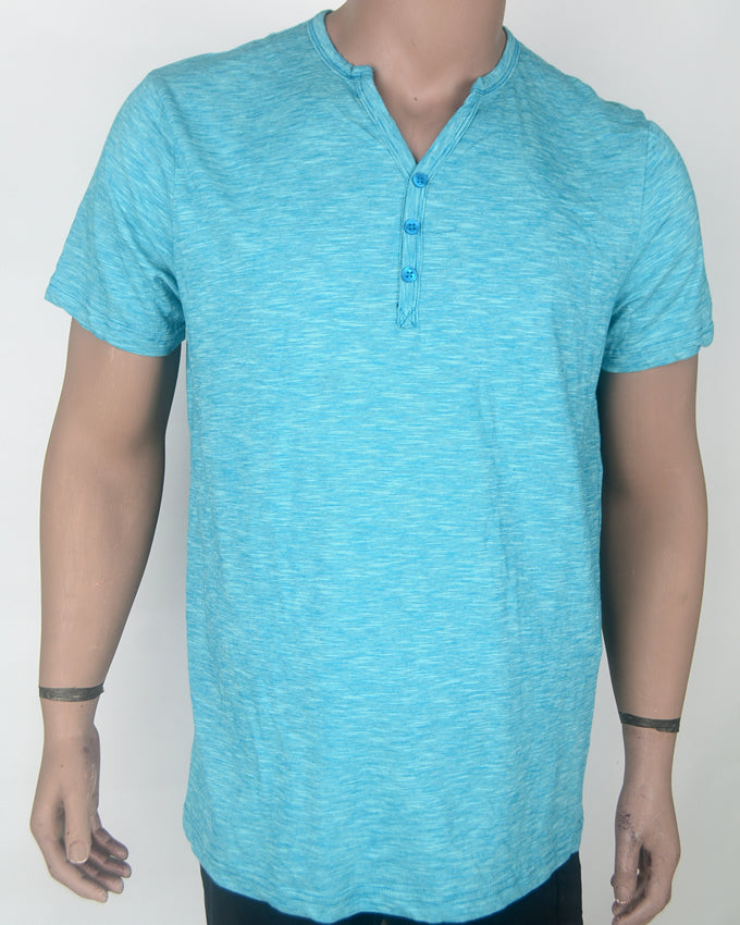 Plain V-Neck Buttoned Light Blue - XL