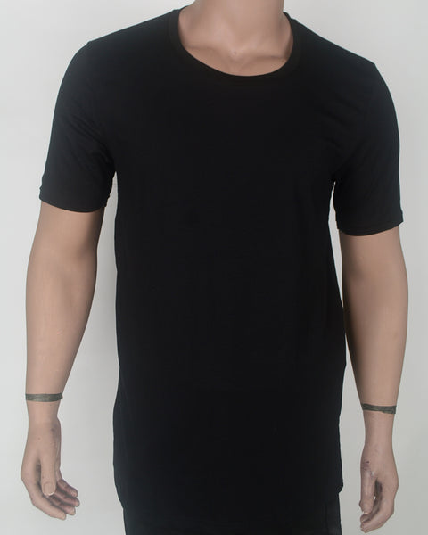 Plain Big Collor Black Long T-shirt - XL
