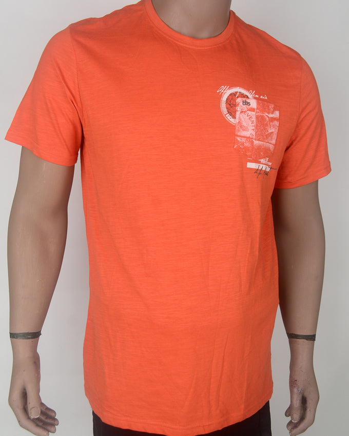 Orange with White Print T-shirt - XL
